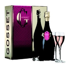 GOSSET_Coffret Saint Valentin Grand Rosé bouteille + flutes +