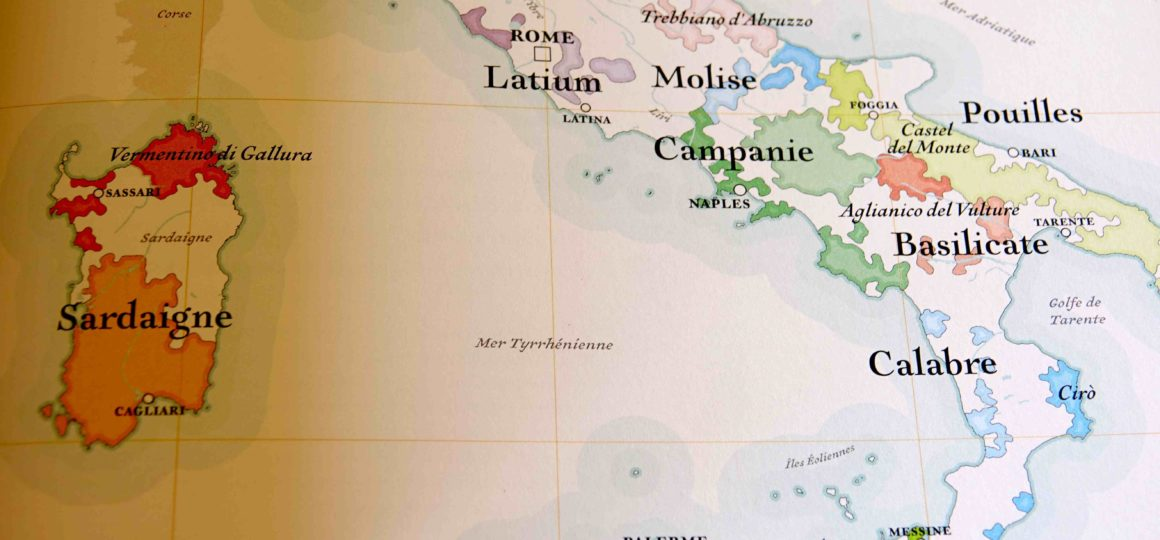 Carte de l'Italie viticole