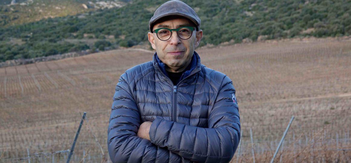 Sylvain Fadat sur son vignoble de Montpeyroux