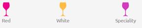 Légende : Vin rouge, vin blanc, spécialité